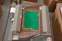 BNPS.co.uk (01202 558833)<br /> Pic: Zachary Culpin/BNPS<br /> <br /> Pictured: The Dell, Southampton FC's old ground<br /> <br /> An incredible collection of model football stadiums handmade by a soccer fan have sold for almost £19,000 after being found in a storage unit.<br /> <br /> Model-maker John Le Maitre created miniature versions of all 92 English Football League club grounds from the 1980s, as well as the old Wembley Stadium.<br /> <br /> They featured on a Blue Peter episode that year and are a throwback to a bygone age when football grounds with their banks of terraces looked very different to today's super stadiums.