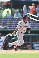 Fernando Perez (14) of the Lake Elsinore Storm bats during a game against the Inland Empire 66ers at San Manuel Stadium on May 27, 2015 in San Bernardino, California. Lake Elsinore defeated Inland Empire, 12-9. (Larry Goren/Four Seam Images)