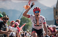 "Koen de Kort (NED/Trek-Segafredo) urging the crowd to make some noise coming through ""Dutch Corner"" (#7)<br /> <br /> Stage 12: Bourg-Saint-Maurice / Les Arcs > Alpe d'Huez (175km)<br /> <br /> 105th Tour de France 2018<br /> ©kramon"