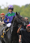 27 Sept 2008:Jockey Alan Garcia gives a thumbs up after a  10-length romp aboard Grand Couturier in the Joe Hirsch Classic Invitational Stakes at Belmont Park in Elmont, New York on Jockey Club Gold Cup Day.