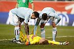 Celta de Vigo's Ruben Blanco injured in presence of Hugo Mallo (l) and Sergi Gomez (r) during Spanish Kings Cup match. January 27,2016. (ALTERPHOTOS/Acero)