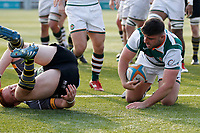 TRY - Matt Cornish of Ealing Trailfinders during the Greene King IPA Championship match between Ealing Trailfinders and Nottingham Rugby at Castle Bar , West Ealing , England  on 30 March 2019. Photo by Carlton Myrie.