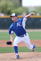 Daniel Stumpf #65 of the Kansas City Royals pitches during a Minor League Spring Training Game against the Texas Rangers at the Kansas City Royals Spring Training Complex on March 20, 2014 in Surprise, Arizona. (Larry Goren/Four Seam Images)