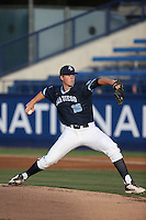 Jonathan Teaney (16) of the University of San Diego Toreros pitches against the Cal State Fullerton Titans at Goodwin Field on April 5, 2016 in Fullerton, California. Cal State Fullerton defeated University of San Diego, 4-2. (Larry Goren/Four Seam Images)