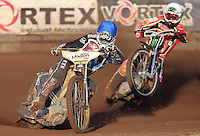 Heat 1: Richard Lawson (blue) and Tai Woffinden (white) - Lakeside Hammers vs Wolverhampton Wolves, Elite League Speedway at the Arena Essex Raceway, Pufleet - 04/07/14 - MANDATORY CREDIT: Rob Newell/TGSPHOTO - Self billing applies where appropriate - 0845 094 6026 - contact@tgsphoto.co.uk - NO UNPAID USE