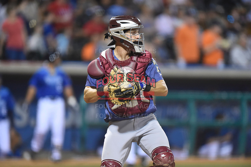 ***Temporary Unedited Reference File***Frisco RoughRiders catcher Kellin Deglan (6) during a game against the Corpus Christi Hooks on April 23, 2016 at Whataburger Field in Corpus Christi, Texas.  Corpus Christi defeated Frisco 3-2.  (Mike Janes/Four Seam Images)