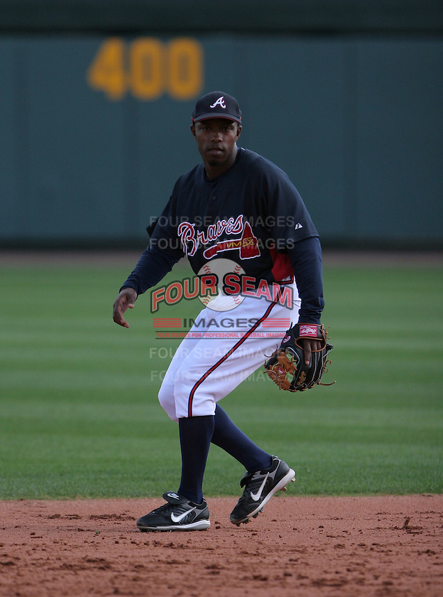 Willie Harris of the Atlanta Braves vs. the St. Louis Cardinals March 16th, 2007 at Champion Stadium in Orlando, FL during Spring Training action.  Photo By Mike Janes/Four Seam Images