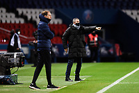 24th December 2020; Paris, France; French League 1 football, Paris St Germain versus Strasbourg;   LAUREY Thierry  trainer Strasbourg  sends in instructions watched by Thomas Tuchel of Paris Saint Germain during his last game as manager