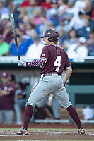 Mississippi State Bulldogs outfielder Rowdey Jordan (4) at bat during Game 10 of the NCAA College World Series against the Louisville Cardinals on June 20, 2019 at TD Ameritrade Park in Omaha, Nebraska. Louisville defeated Mississippi State 4-3. (Andrew Woolley/Four Seam Images)