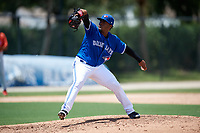 GCL Blue Jays relief pitcher Juan Diaz (26) delivers a pitch during a game against the GCL Phillies West on August 7, 2018 at Bobby Mattick Complex in Dunedin, Florida.  GCL Blue Jays defeated GCL Phillies West 11-5.  (Mike Janes/Four Seam Images)