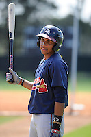 Infielder Johan Camargo (33) of the Atlanta Braves farm system in a Minor League Spring Training workout on Monday, March 16, 2015, at the ESPN Wide World of Sports Complex in Lake Buena Vista, Florida. (Tom Priddy/Four Seam Images)