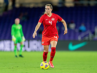 ORLANDO, FL - FEBRUARY 21: Shelina Zadorsky #4 of Canada dribbles during a game between Canada and Argentina at Exploria Stadium on February 21, 2021 in Orlando, Florida.