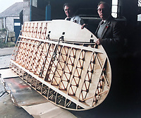 BNPS.co.uk (01202 558833)<br /> Pic: WilliamHosie/BNPS<br /> <br /> William's father Bill (left) with his S.5 replica wing under construction.<br /> <br /> British pilot William Hosie is attempting to build a working replica of the historic S.5 Schneider trophy seaplane, 33 years after his father was killed in an identical aircraft.<br /> <br /> William Hosie, 58, needs to raise £275,000 to construct a unique Supermarine S.5 from scratch, using the original blueprints of the famous aircraft designed by R.J.Mitchelll in the 1920's.<br /> <br /> The project has an added poignancy as his father, Bill Hosie, perished aged 57 flying an identical S.5 replica he'd built over Mylor, Cornwall, in May 1987.<br /> <br /> Once complete, William hopes to fly the unique seaplane at airshows as a reminder of Britain's proud history from the pioneering days of aircraft and as a tribute to his late father.<br /> <br /> The Supermarine S.5 won the prestigious Schneider Trophy in Venice in 1927 with a speed of 281mph. If Will, from Taunton, Somerset, succeeds, his will be the only working Supermarine S5 in the world.