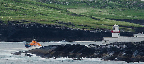Valentia RNLI passing Valentia Lighthouse in County Kerry