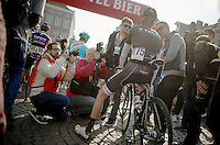 lots of media attention for Andy Schleck (LUX/Trek Factory Racing) at the start<br /> <br /> Amstel Gold Race 2014