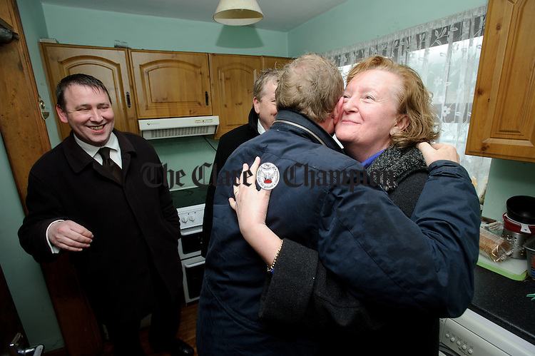 Enda Kenny, Taoiseach meets old friend Madeleine Taylor Quinn, former Fine Gael TD watched by Joe Carey, TD and Pat Breen, TD during his visit to Loop Head to launch the Fine Gael tourism initiative. Photograph by John Kelly.