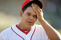 Pitcher Dedgar Jimenez (47) of the Greenville Drive in a game against the Charleston RiverDogs on Sunday, May 24, 2015, at Fluor Field at the West End in Greenville, South Carolina. Charleston won 3-2. (Tom Priddy/Four Seam Images)