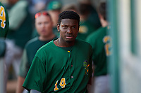 Beloit Snappers center fielder Lester Madden (14) during a Midwest League game against the Lansing Lugnuts at Cooley Law School Stadium on May 4, 2019 in Lansing, Michigan. Beloit defeated Lansing 2-1. (Zachary Lucy/Four Seam Images)