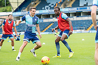 Matt Bloomfield of Wycombe Wanderers & Marcus Bean of Wycombe Wanderers during the Open Training Session in front of supporters during the Wycombe Wanderers 2016/17 Team & Individual Squad Photos at Adams Park, High Wycombe, England on 1 August 2016. Photo by Jeremy Nako.