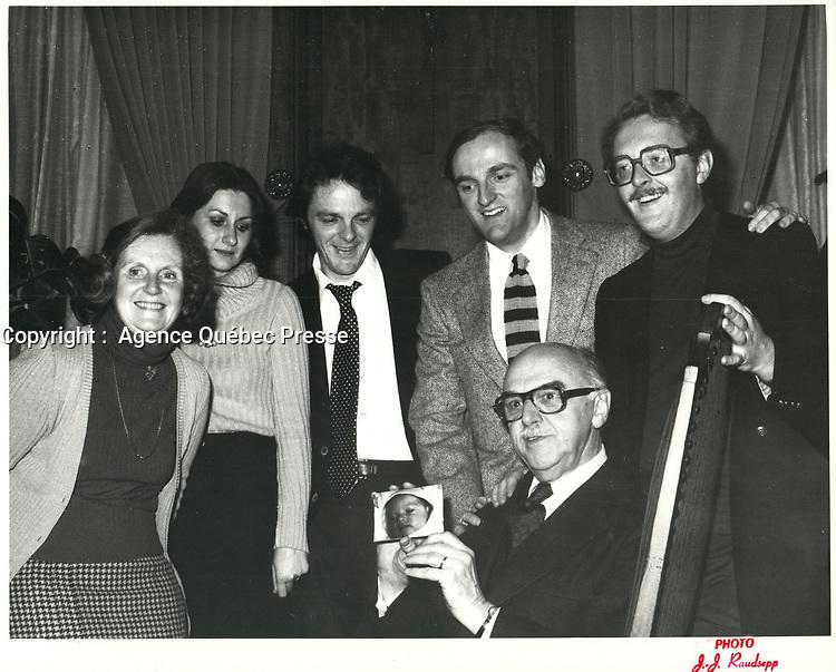 Le Maire Jean Drapeau,ré élu,<br /> le 12  novembre 1978<br /> <br /> <br /> PHOTO : JJ Raudsepp  - Agence Quebec presse
