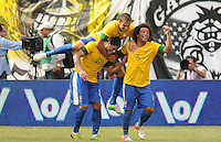 Brazil forward Hulk (20) celebrates his score with teammates. The Argentina National Team defeated Brazil 4-3 at MetLife Stadium, Saturday July 9 , 2012.