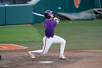 James Parker (15) of the Clemson Tigers in a fall Orange-Purple intrasquad scrimmage on Friday, November 13, 2020, at Doug Kingsmore Stadium in Clemson, South Carolina. (Tom Priddy/Four Seam Images)