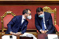 The Minister of Justice Alfonso Bonafede and the Italian Premier Giuseppe Conte during the information at the Senate about the government crisis.<br /> Rome(Italy), January 19th 2021<br /> Photo Pool Stefano Carofei/Insidefoto