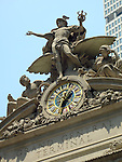 Statues and clock atop Grand Central Terminal in Midtown Manhattan in New York City.