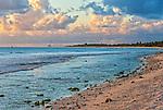 An idyllic beach during golden hour on the remote island of Kiritimati on Kiribati
