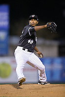Kannapolis Intimidators relief pitcher Jaider Rocha (40) in action against the Hickory Crawdads at Kannapolis Intimidators Stadium on April 8, 2016 in Kannapolis, North Carolina.  The Crawdads defeated the Intimidators 8-2.  (Brian Westerholt/Four Seam Images)