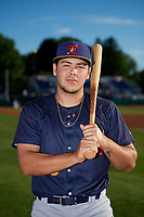 State College Spikes Carlos Soto (28) poses for a photo before a NY-Penn League game against the Batavia Muckdogs on July 1, 2019 at Dwyer Stadium in Batavia, New York.  Batavia defeated State College 5-4.  (Mike Janes/Four Seam Images)