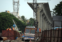 Highway construction site in Madras, India