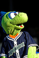 12 July 2007: Vermont Lake Monsters Mascot Champ in action during a game against the Mahoning Valley Scrappers at Historic Centennial Field in Burlington, Vermont. The Scrappers defeated the Lake Monsters 11-2 in the first game of their NY Penn-League double-header...Mandatory Photo Credit: Ed Wolfstein Photo