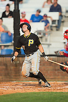 Logan Ratledge (25) of the Bristol Pirates follows through on his swing against the Johnson City Cardinals at Howard Johnson Field at Cardinal Park on July 6, 2015 in Johnson City, Tennessee.  The Pirates defeated the Cardinals 2-0 in game one of a double-header. (Brian Westerholt/Four Seam Images)