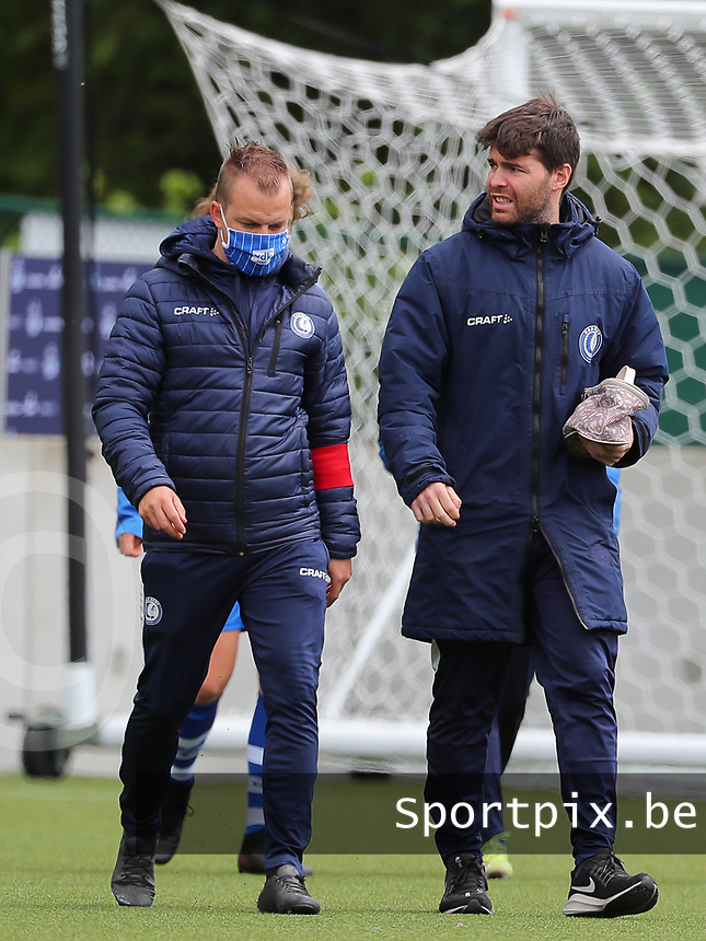 assistant coach Dennis Moerman of AA Gent (R) pictured before a female soccer game between Oud Heverlee Leuven and AA Gent Ladies on the 9 th matchday of play off 1 in the 2020 - 2021 season of Belgian Womens Super League , saturday 22 nd of May 2021  in Heverlee , Belgium . PHOTO SPORTPIX.BE | SPP | SEVIL OKTEM
