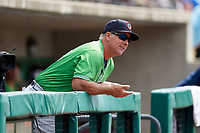 Gwinnett Stripers manager Damon Berryhill (55) in the dugout during a game against the Columbus Clippers on May 17, 2018 at Huntington Park in Columbus, Ohio.  Gwinnett defeated Columbus 6-0.  (Mike Janes/Four Seam Images)
