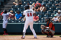 Sandro Fabian (48) of the Richmond Flying Squirrels at bat against the Bowie Baysox at The Diamond on July 28, 2021, in Richmond Virginia. (Brian Westerholt/Four Seam Images)