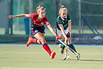 Mannheim, Germany, October 18: During the 1. Bundesliga women fieldhockey match between Mannheimer HC (red) and Uhlenhorst Muelheim (green) on October 18, 2020 at Am Neckarkanal in Mannheim, Germany. Final score 1-0 (HT 0-0). (Copyright Dirk Markgraf / www.265-images.com) *** Julia Hemmerle #2 of Uhlenhorst Muelheim, Paulina Niklaus #25 of Mannheimer HC