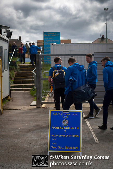 Players arriving at Mount Pleasant before Marske United take on Billingham Synthonia in a Northern League division one fixture. Formed in 1956 in Marske-by-the-Sea, the home club had secured automatic promotion to the Northern Premier League two days before and were in the midst of a run of six home games in 10 days as they attempted to overtake Morpeth Town to win the league. They won this match 6-1 against already relegated Billingham, watched by a crowd of 196.