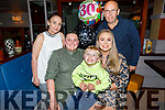 Alan Hill from Shanakill celebrating his 30th birthday in Benners Hotel on Saturday.<br /> Seated l to r: Alan Hill Bradley McCormack Hill and Gillian Carroll. Back l to r: Patricia and David Hill.