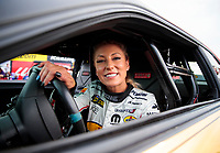 Aug 30, 2019; Clermont, IN, USA; NHRA factory stock driver Leah Pritchett during qualifying for the US Nationals at Lucas Oil Raceway. Mandatory Credit: Mark J. Rebilas-USA TODAY Sports