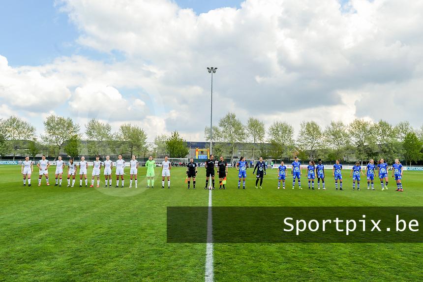 line-up team OHL ( Marie Detruyer (17) , Sara Yuceil (13) , Estee Cattoor (11) , Luna Vanzeir (10) , Jill Janssens (7) , Zenia Mertens (6) , Auke Swevers (4) , Amber Tysiak (3) , Sari Kees (2) , Goalkeeper Louise Van Den Bergh (1) , Lenie Onzia (8) ) , assistant referee Ella De Vries , referee Florian Stove , assistant referee Toon Bonduel , team KAA Gent ( Silke Vanwynsberghe (21) , goalkeeper Nicky Evrard (1) , Rkia Mazrouai (2) , Heleen Jaques (4) , Emma Van Britsom (6) , Lakeesha Eikjken (7) , Chloe Vande Velde (10) , Lyndsey Van Belle (14) , Lore Jacobs (17) , Lobke Loonen (19) , Feli Delacauw (44) ) pictured before a female soccer game between AA Gent Ladies and Oud Heverlee Leuven on the fourth matchday of play off 1 in the 2020 - 2021 season of Belgian Scooore Womens Super League , saturday 1 st of May 2021  in Oostakker , Belgium . PHOTO SPORTPIX.BE | SPP | STIJN AUDOOREN