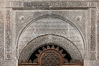 Fes, Morocco.  Carved Woodwork and Stucco  Decoration in the Attarine Medersa, Fes El-Bali.