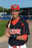 Batavia Muckdogs second baseman Rehiner Cordova (13) poses for a photo before a game against the Williamsport Crosscutters on September 4, 2013 at Dwyer Stadium in Batavia, New York.  Williamsport defeated Batavia 6-3 in both teams season finale.  (Mike Janes/Four Seam Images)