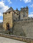 The imposing main entrance to the Château de Beynac
