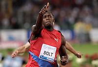Il giamaicano Usain Bolt vince i 100 metri uomini durante il Golden Gala di atletica leggera allo stadio Olimpico di Roma, 31 maggio 2012..Jamaica's Usain Bolt wins the men's 100 meters during the IAAF athletic Golden Gala meeting at Rome's Olympic stadium, 31 may 2012..UPDATE IMAGES PRESS/Riccardo De Luca