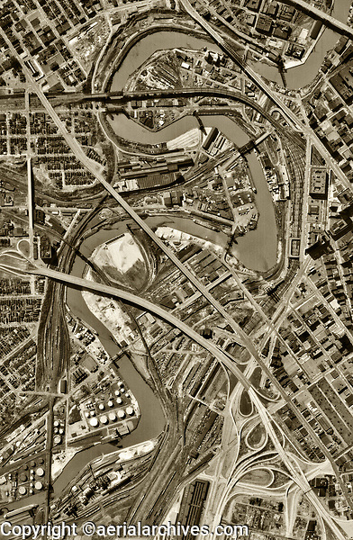 historical aerial photo map of  the Cuyahoga River, Cleveland, Ohio, 1962