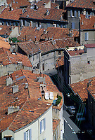 Traditional red roofs of Marseille, France.