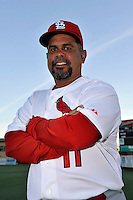 Mar 01, 2010; Jupiter, FL, USA; St. Louis Cardinals coach Jose Oquendo (11) during  photoday at Roger Dean Stadium. Mandatory Credit: Tomasso De Rosa/ Four Seam Images