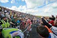 Greg Henderson (NZL/Lotto-Belisol) sheered up Holme Moss Hill (521m/4.7km/7%)<br /> <br /> 2014 Tour de France<br /> stage 2: York-Sheffield (201km)